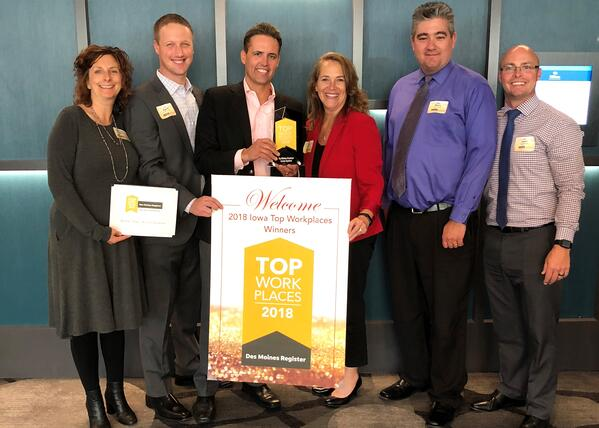 Access Systems' Executive Team accepting the 2018 Top Workplaces Award