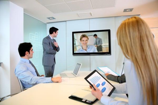 Sales team meeting via video conferencing